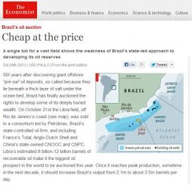 """Para a revista """"The Economist"""", leilão de Libra teve """"preço barato"""" e foi """"uma decepção"""""""