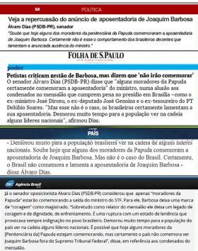 Repercussão do anúncio de aposentadoria de Joaquim Barbosa