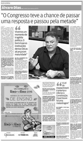"""Entrevista de Alvaro Dias ao jornal """"A Tribuna"""", de Santos (SP)"""